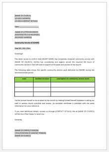Community service letter template 02