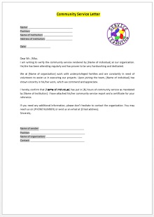 church community service completion letter