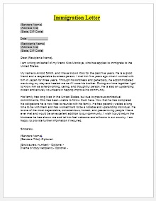 immigration letter of recommendation