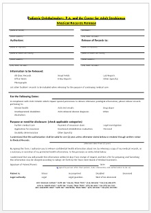 medical release form templates