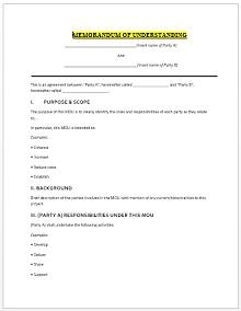 Memorandum of Understanding Template 02