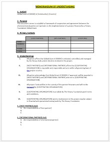 memorandum of understanding samples templates