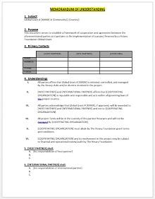 Memorandum of Understanding Template 10