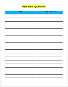 Open house sign in sheet 01