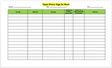 school open house sign in sheet pdf