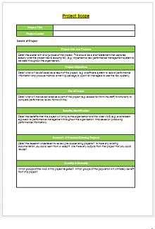 Scope Document Template from excelshe.com