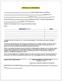 proof of residency letter from family member sample