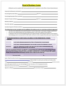 proof of residency letter template word