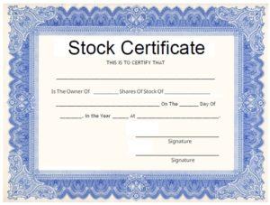 Stock certificate template 02