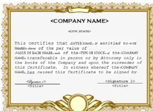 Stock certificate template 04
