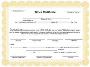 Stock certificate template 07