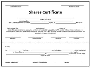Stock certificate template 08