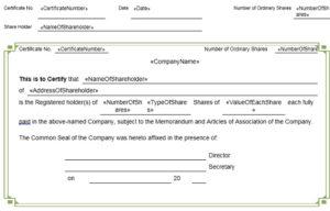 Stock certificate template 12