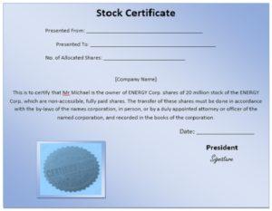 Stock certificate template 13