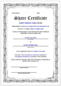 Stock certificate template 14