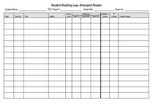 Student reading log