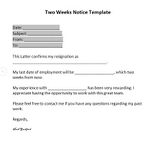 two weeks notice example