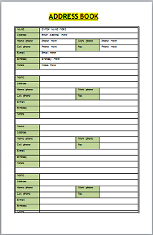 google sheets address book template