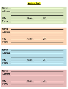Address Book Template 08