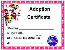 child adoption certificate template