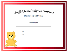 cat adoption certificate