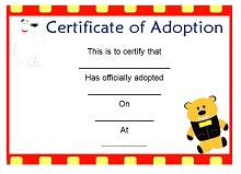 fake adoption certificate free printable