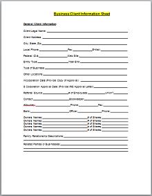 Business Client Information Sheet Template
