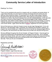 community service letter for court template