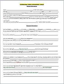 Confidential Client Information Sheet