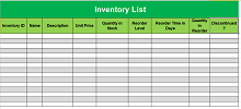 Inventory list template 02