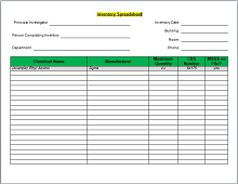 Inventory list template 09