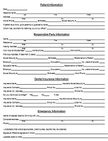 general medical history form, sample medical history form