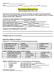 patient information sheet template microsoft word ,medical history form example