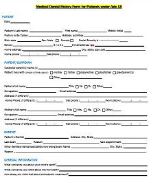 dental health history form template