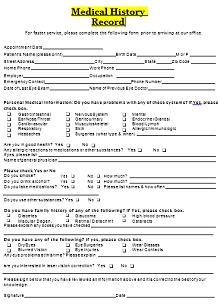 standard medical history form, printable medical history form