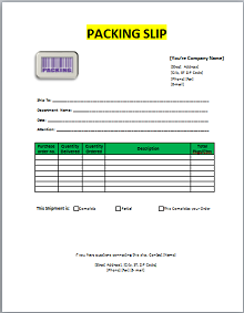 packing slip template word