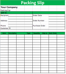 free packing slip template
