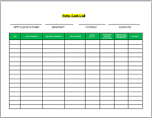 Petty cash log printable template 05