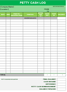 petty cash log pdf printable