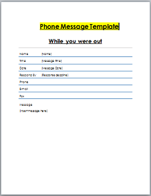 phone message template word