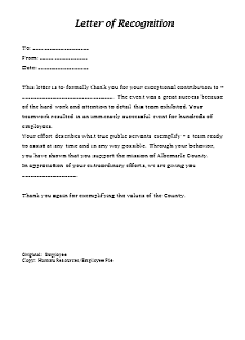 Recognition letter