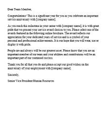 sample employee recognition letter for hard work