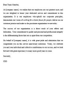 recognition letter sample