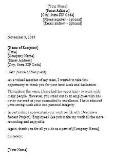 recognition letter template