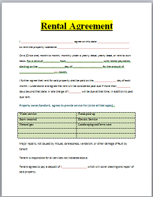 Room rental agreement 05