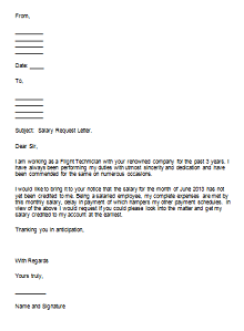 Salary request letter template