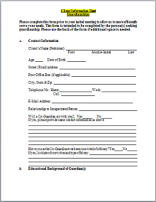 Sheet for Guardianship Client Information