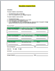 Vacation request form