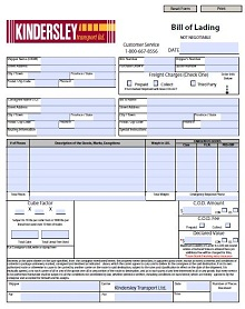 free vehicle bill of lading template