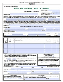 bill of lading short form pdf